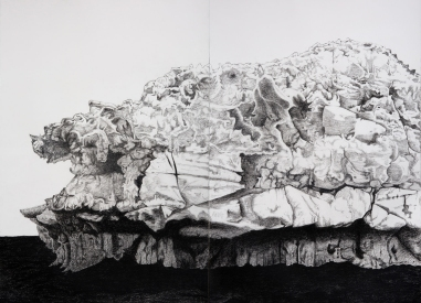Frozen Fragment, 2019, charcoal on paper, 106 x 78cm